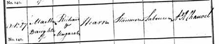 Baptism of Martha Hearn 1816