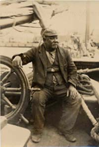 Captain WIlliam Smith at the wheel